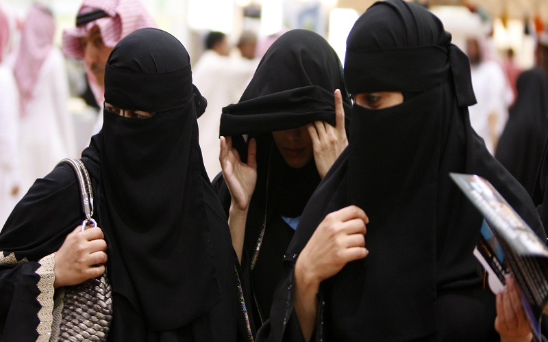 Saudi women visit the Saudi Travel and Tourism Investment Market (STTIM) fair in Riyadh, Saudi Arabia, Monday, March 29, 2010. (AP Photo/Hassan Ammar)